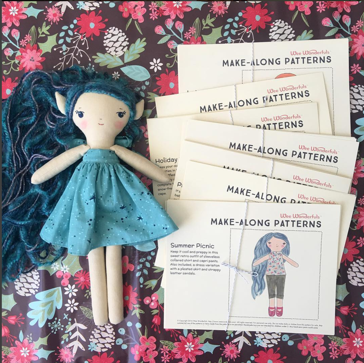Make-Along doll & clothes patterns printed up as a gift